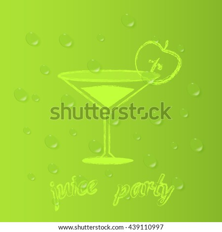 . Party apple juice. Vector background