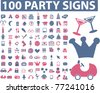 100 party icons, signs, vector illustrations - stock vector