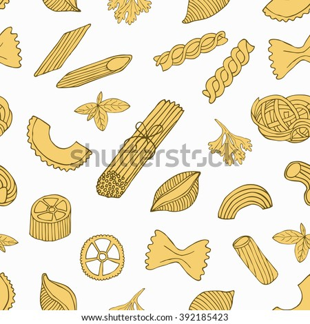 Pasta seamless pattern. Retro pasta background. Pasta surface decoration. Hand drawn pasta vector illustration.