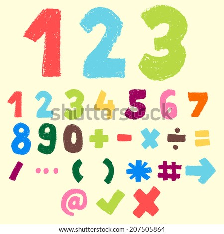 123 pastel color,numeric and symbol,doodle font - stock vector