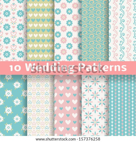 10 Pastel loving wedding vector seamless patterns (tiling). Fond pink, green, white and blue colors. Endless texture can be used for printing onto fabric and paper or invitation. Heart, flower, curl. - stock vector