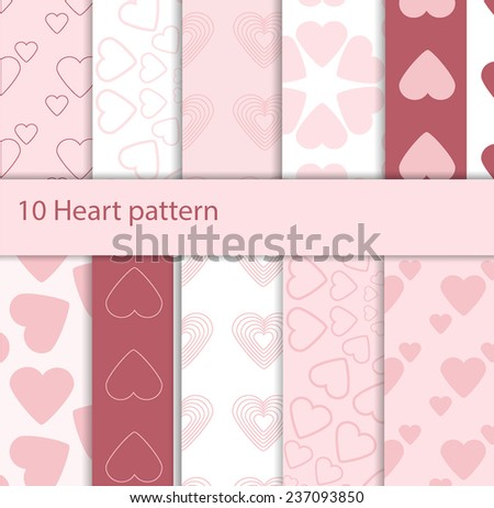 10 pattern with hearts. Valentines Day background. Stylish repeating print - stock vector