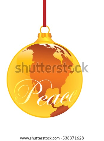 'Peace on Earth' A Christmas Ornament Shaped like a Globe with 'Peace' written on it. Isolated on White