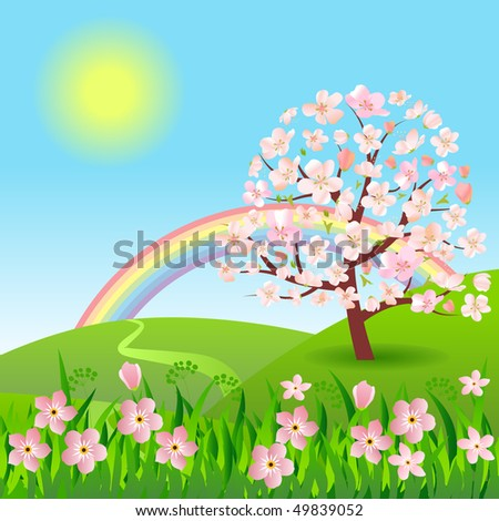 Peaceful floral landscape with rainbow - stock vector