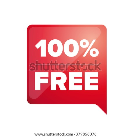100 pecent free label red - stock vector