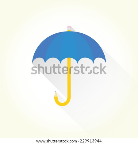 """Pencil umbrella"" isolated vector icon - stock vector"