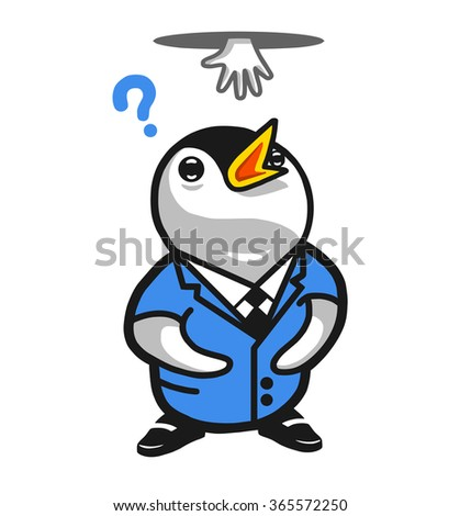 Penguin wearing a businessman suit looking up confused by a hand in the hole above his head. Vector illustration.