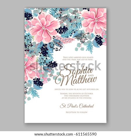 Peony Wedding Invitation Floral Bridal Wreath Stock Vector 611565590