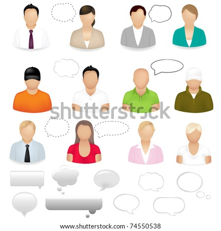 12 People Icons With Dialog Bubbles, Isolated On White Background, Vector Illustration - stock vector