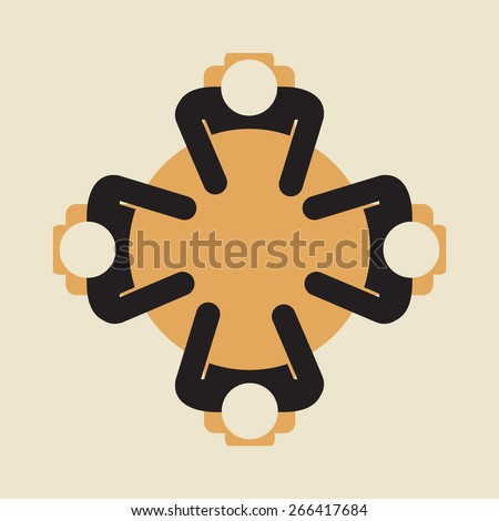 4 people sitting around round  table , view from above - stock vector