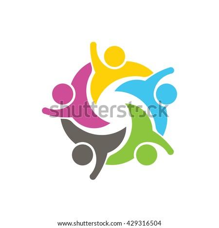 People Social Network Logo. Vector graphic design illustration - stock vector