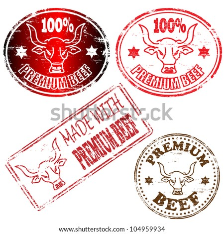 100 percent and made with premium beef rubber stamp illustrations