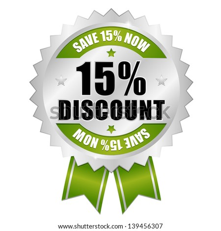 15 percent discount button green