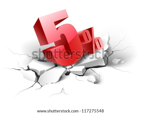 5 percent discount icon on white background - stock vector