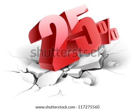 25 percent discount icon on white background - stock vector