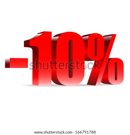 10 percent discount. Red shiny text. Concept 3D illustration.  - stock vector