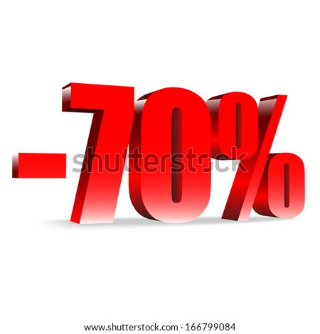 70 percent discount. Red shiny text. Concept 3D illustration.  - stock vector