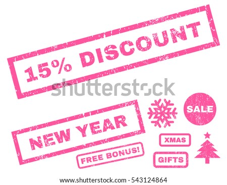15 Percent Discount rubber seal stamp watermark with additional design elements for Christmas and New Year offers. Caption inside rectangular banner with grunge design and unclean texture.
