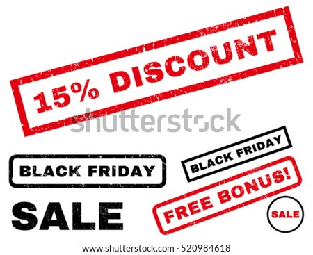 15 Percent Discount rubber seal stamp watermark with additional images for Black Friday offers. Text inside rectangular banner with grunge design and dirty texture.