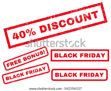 40 Percent Discount rubber seal stamp watermark with additional images for Black Friday offers. Vector red stickers. Caption inside rectangular shape with grunge design and dirty texture.