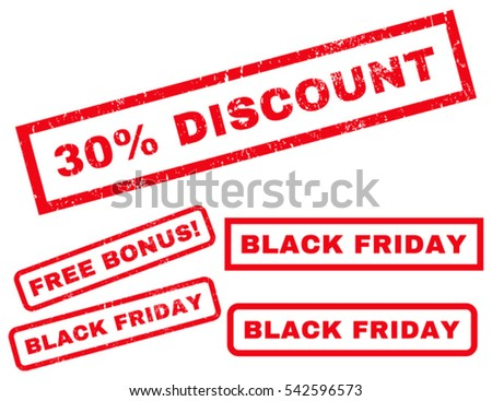 30 Percent Discount rubber seal stamp watermark with additional images for Black Friday offers. Vector red stickers. Text inside rectangular banner with grunge design and dirty texture.