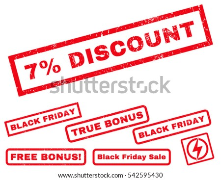 7 Percent Discount rubber seal stamp watermark with bonus design elements for Black Friday offers. Vector red signs. Text inside rectangular shape with grunge design and unclean texture.