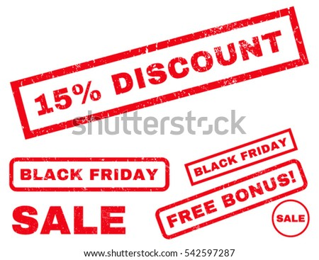 15 Percent Discount rubber seal stamp watermark with bonus design elements for Black Friday offers. Vector red stickers. Text inside rectangular banner with grunge design and unclean texture.