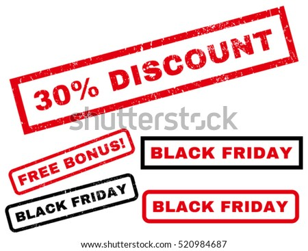 30 Percent Discount rubber seal stamp watermark with bonus images for Black Friday sales. Caption inside rectangular banner with grunge design and unclean texture. Vector red and black emblems.