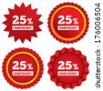 25 percent discount sign icon. Sale symbol. Special offer label. Red stars stickers. Certificate emblem labels. Vector - stock vector