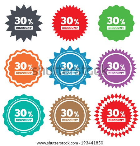 30 percent discount sign icon. Sale symbol. Special offer label. Stars stickers. Certificate emblem labels. Vector - stock vector