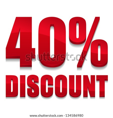 40 percent discount text