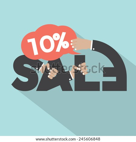 10 Percent Discount Typography Design Vector Illustration - stock vector
