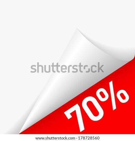 70 percent discount under folded paper corner - stock vector