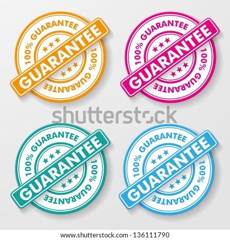 100 percent guarantee colorful paper labels. - stock vector
