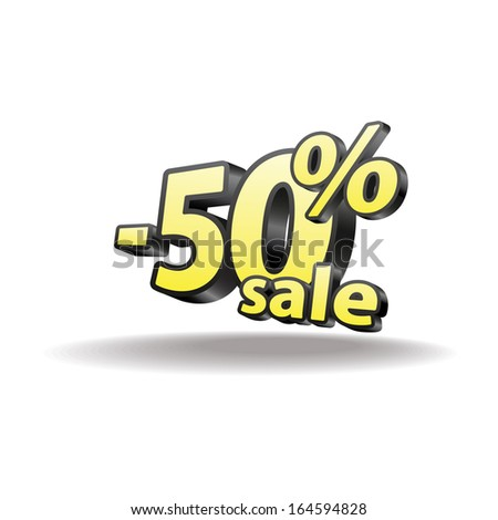 50% percent. Isolated. Black and yellow. Sale.