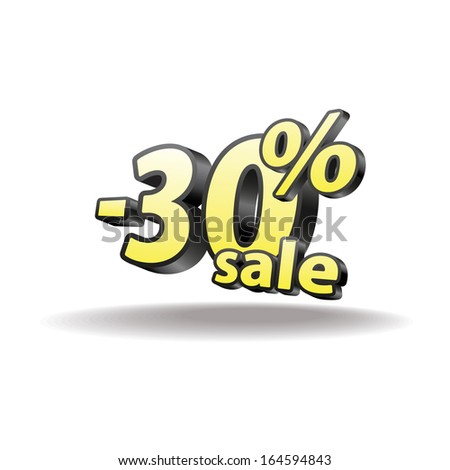 30% percent. Isolated. Black and yellow. Sale.