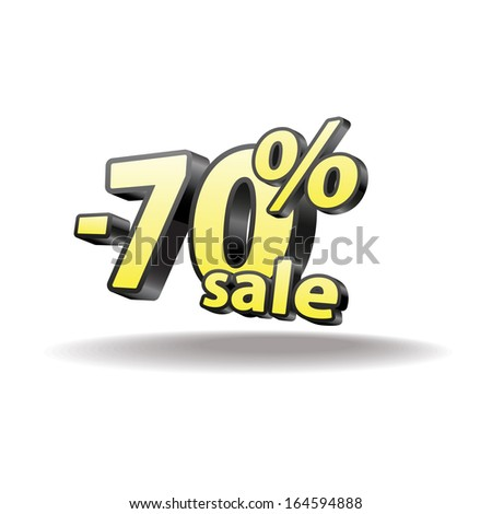 70% percent. Isolated. Black and yellow. Sale.