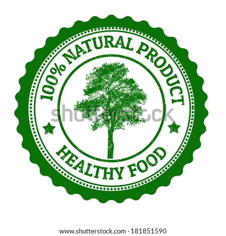 100 Percent Natural Product, healthy food grunge rubber stamp on white, vector illustration - stock vector