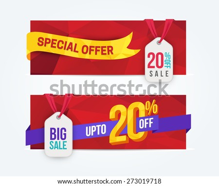 20 Percent Off Discount promotion advertising banners set isolated vector illustration - stock vector