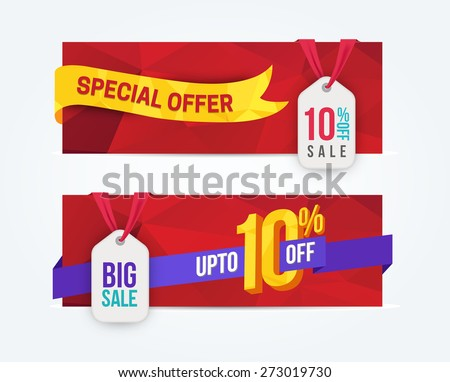 10 Percent Off Discount promotion advertising banners set isolated vector illustration - stock vector