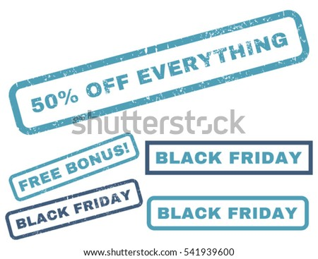 50 Percent Off Everything rubber seal stamp watermark with additional design elements for Black Friday sales. Vector cyan and blue emblems.