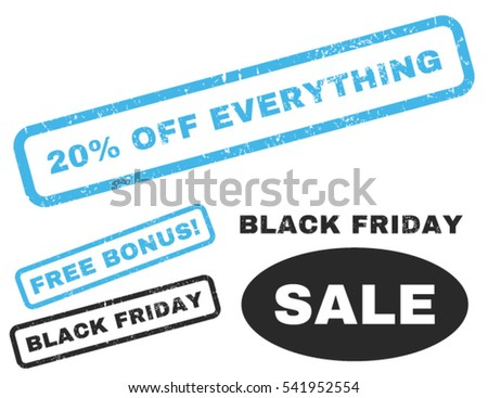 20 Percent Off Everything rubber seal stamp watermark with additional images for Black Friday offers. Vector blue and gray emblems. Text inside rectangular shape with grunge design and dirty texture.