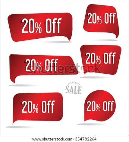 20 percent off red sticker collection - stock vector