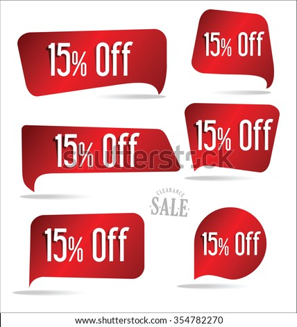 15 percent off red sticker collection - stock vector