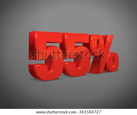 55 percent off, sale background, object 3D. Eps10 Vector.
