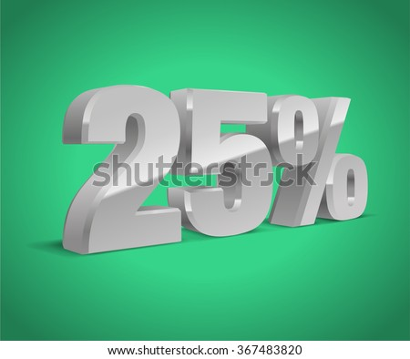 25% percent off, sale green background, silver-gray object 3D. Eps10 Vector. - stock vector