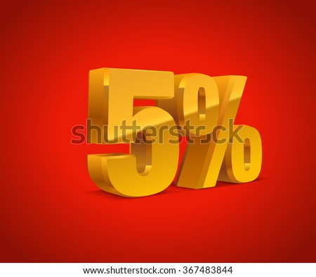 5% percent off, sale red background, golden-yellow object 3D. Eps10 Vector.