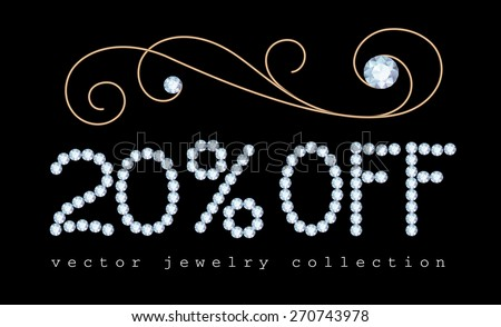 20 percent off, vector sale banner with diamond jewelry letters and gold jewellery vignette decoration on black - stock vector