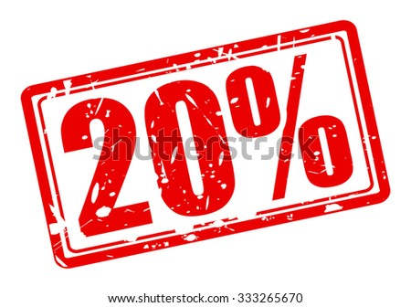 20 percent red stamp text on white - stock vector