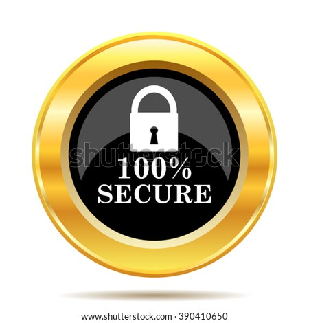 100 percent secure icon. Internet button on white background. EPS10 vector.